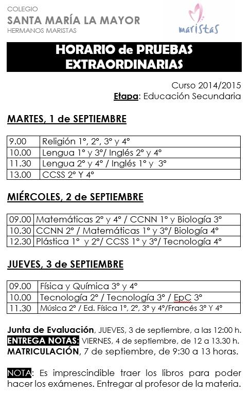 Horario Examenes 2015